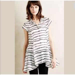 Anthro Meadow Rue Sheer Striped Tunic Blouse